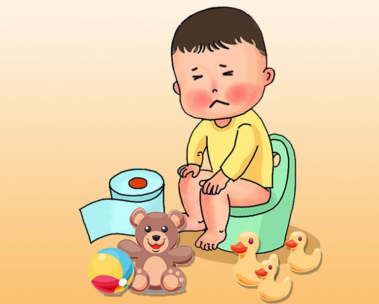 Bệnh táo bón cản trở quá trình đào thải phân ra ngoài ở trẻ